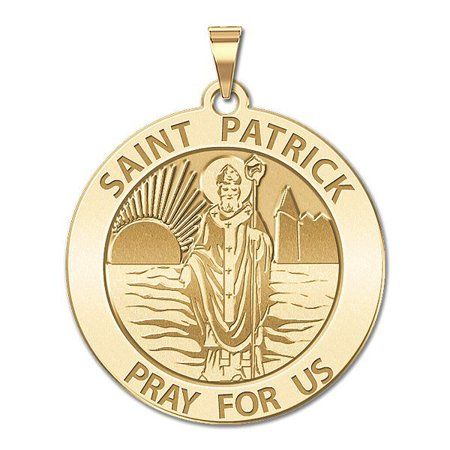 Saint Patrick Religious Medal - 3/4 Inch Size of a Nickel in Solid 14K Yellow Gold