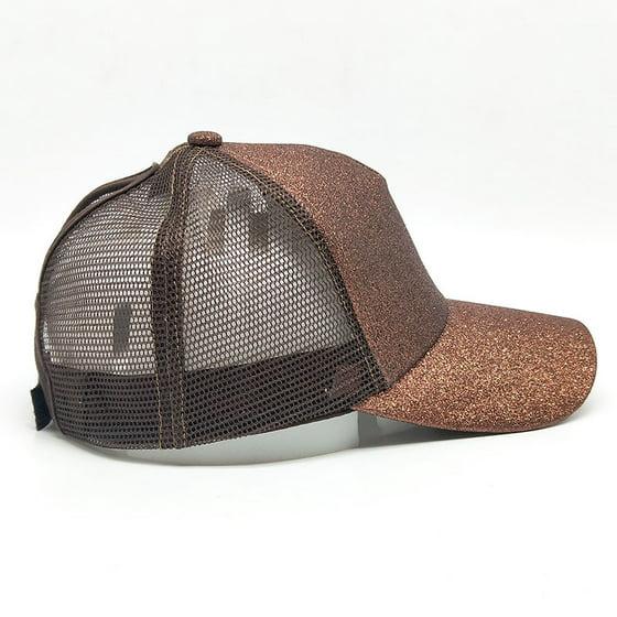 ddef3706bac DZT1968 - DZT1968 2018 Women Ponytail Baseball Cap Sequins Shiny Messy Bun  Snapback Hat Sun Caps - Walmart.com