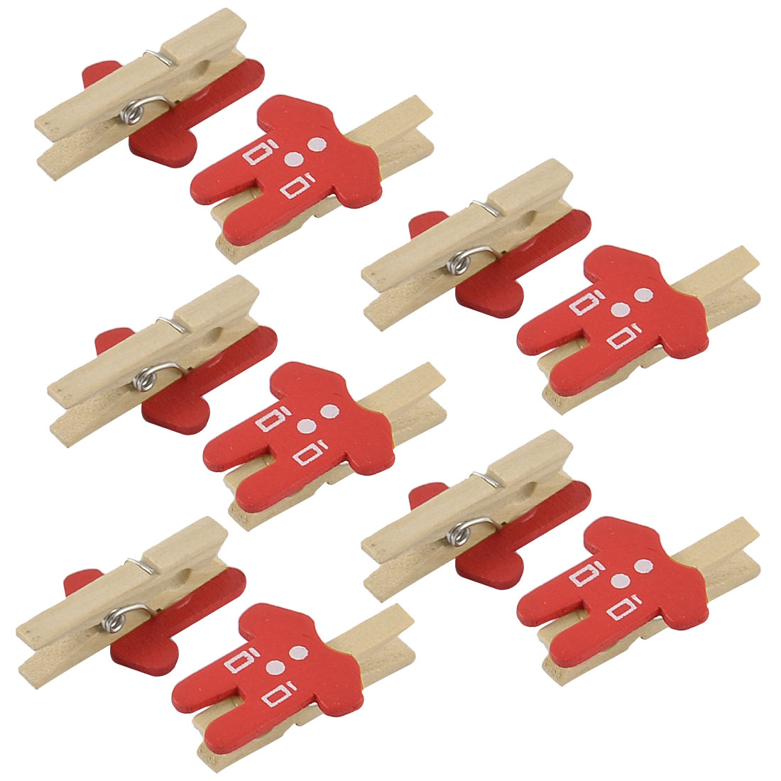 Card Photo Decoration Clothes Shape Crafts Peg Mini Wooden Clip Red 10pcs
