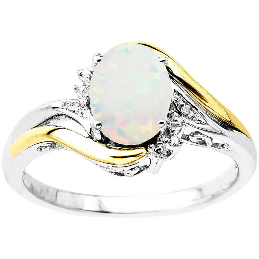 Duet Sterling Silver with 10kt Yellow Gold Oval Created Opal and Diamond Accent Ring by Richline Group Inc
