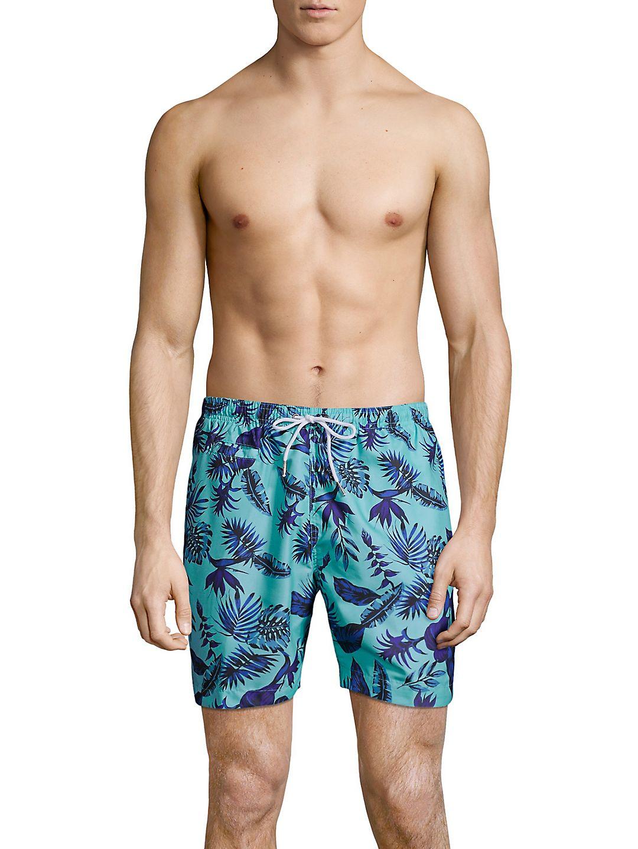 Tropical Printed Swim Trunks