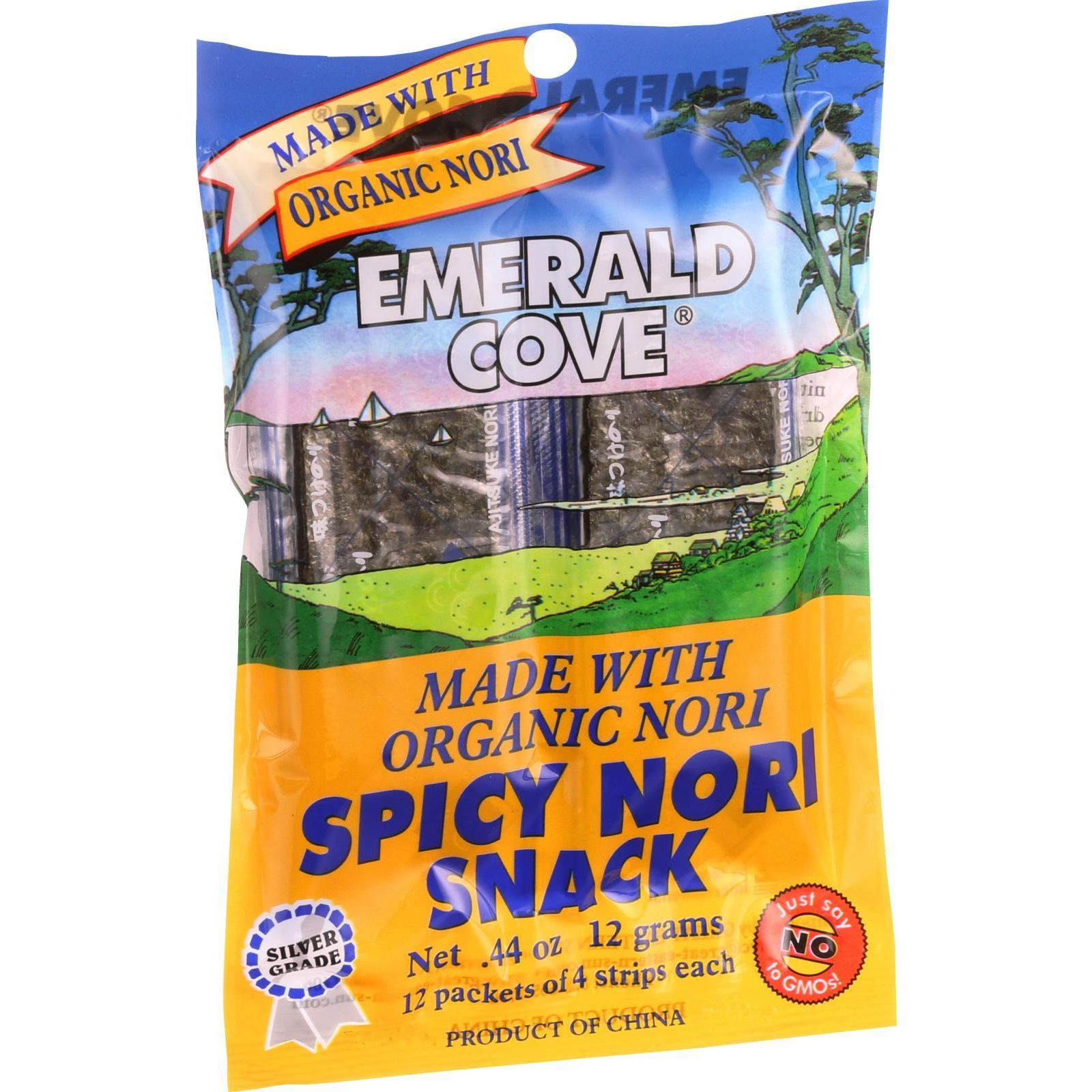 Emerald Cove Spicy Nori Snack Organic Nori Silver Grade 48 Count Case of 6 by