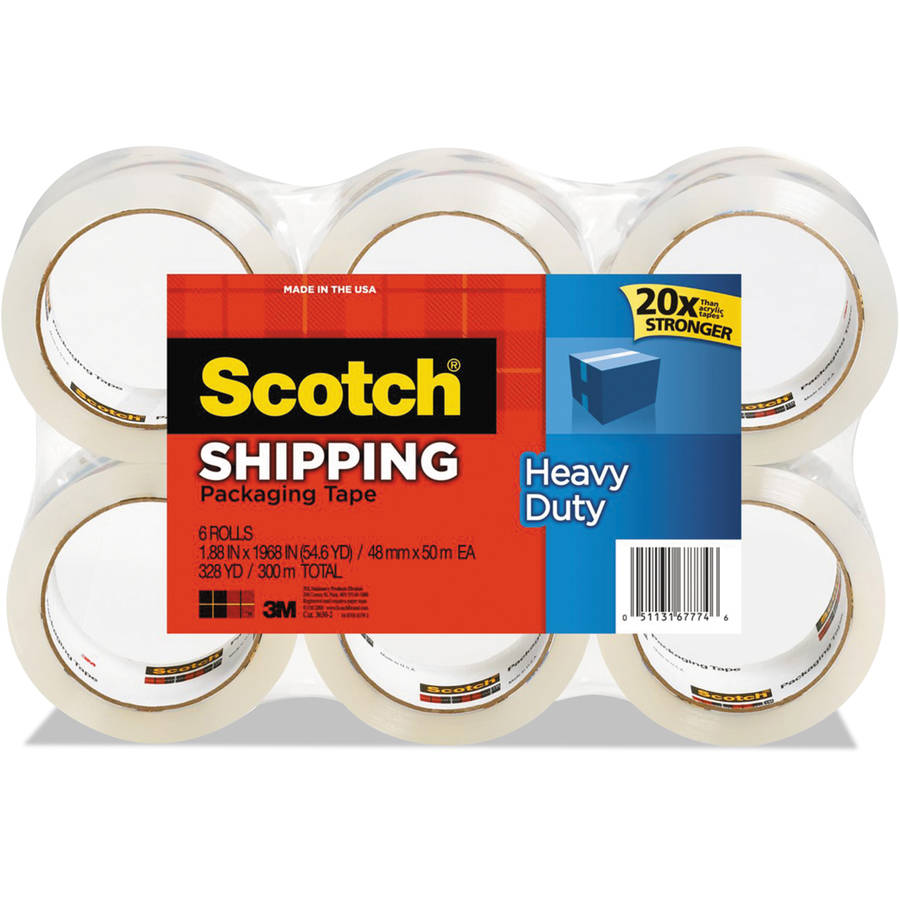 "Scotch Heavy Duty Packaging Shipping Tape, 1.88 in x 54.6 yds, 3"" Core, Clear, 6-Pck"