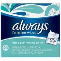 Always Feminine Wipes Fresh & Clean Wipes-to-Go, 20 Ct