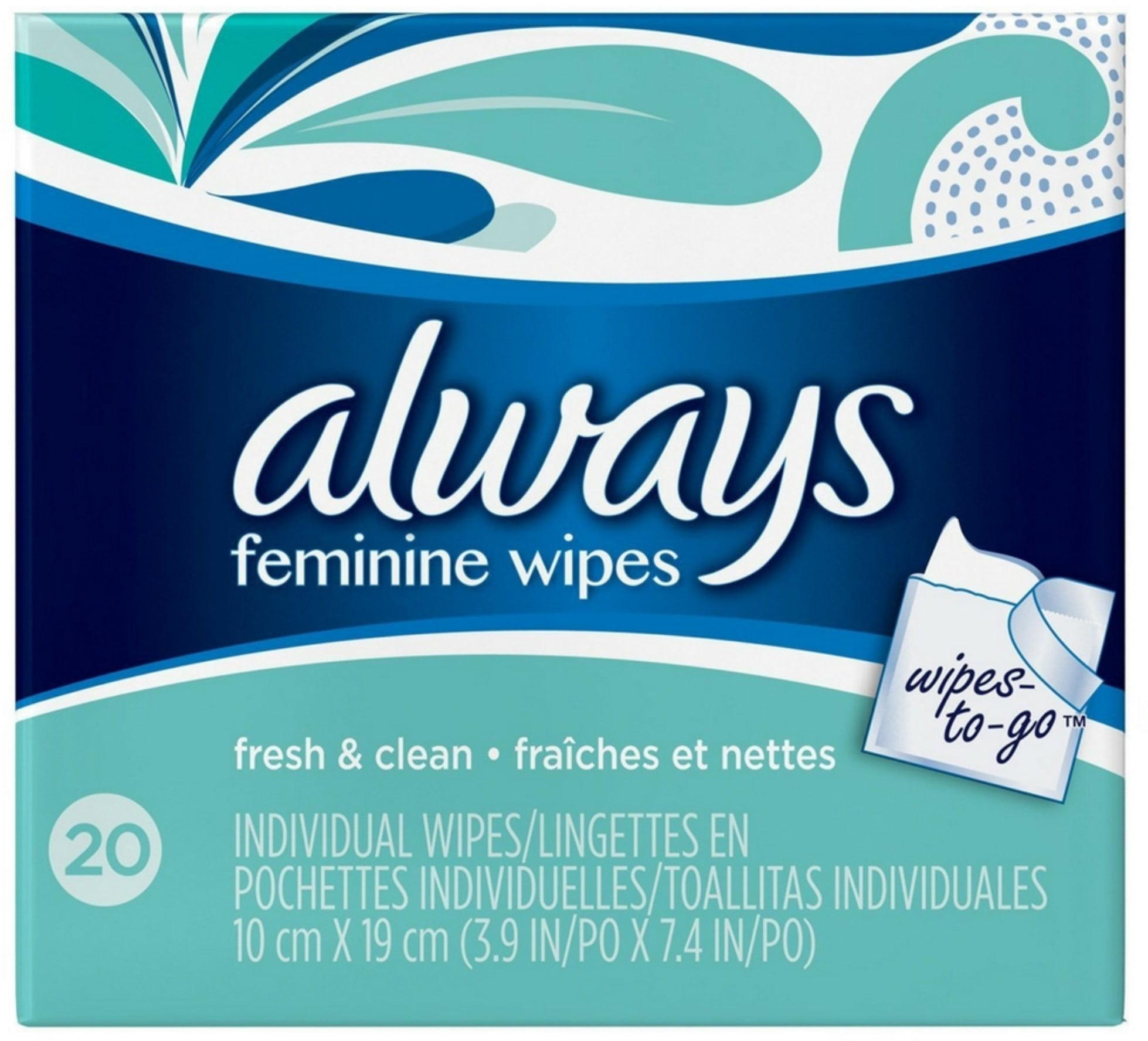 Always Feminine Wipes Fresh & Clean Wipes-to-Go 20 count