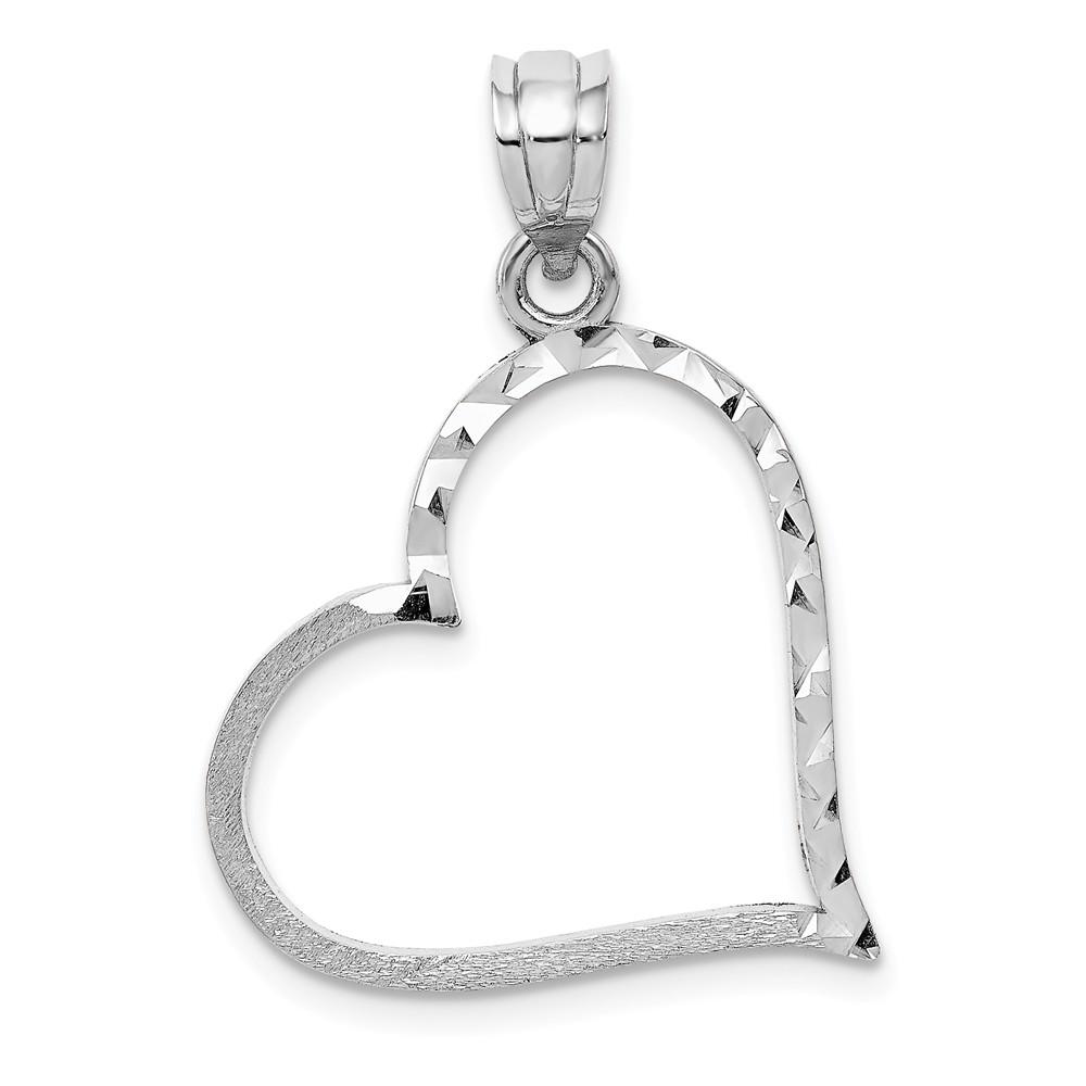 14k White Gold Solid Satin D/C Small Reversible Heart Pendant