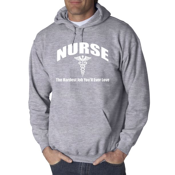 Trendy USA 1504 - Adult Hoodie Nurse The Hardest Job You'll Ever Love Health Care Sweatshirt Large Heather Grey