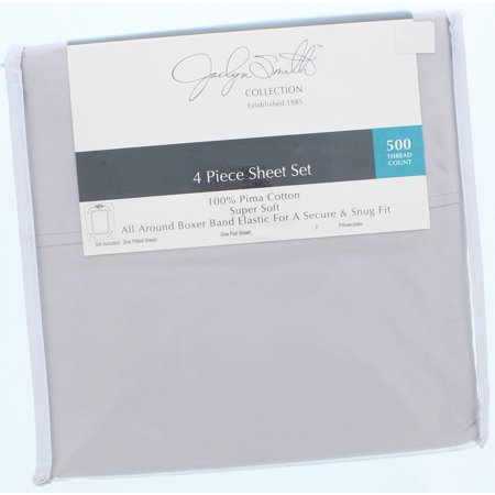 Jaclyn Smith Collecction 4 Piece Full Size Sheet Set 500 Thread Count-Gray ()