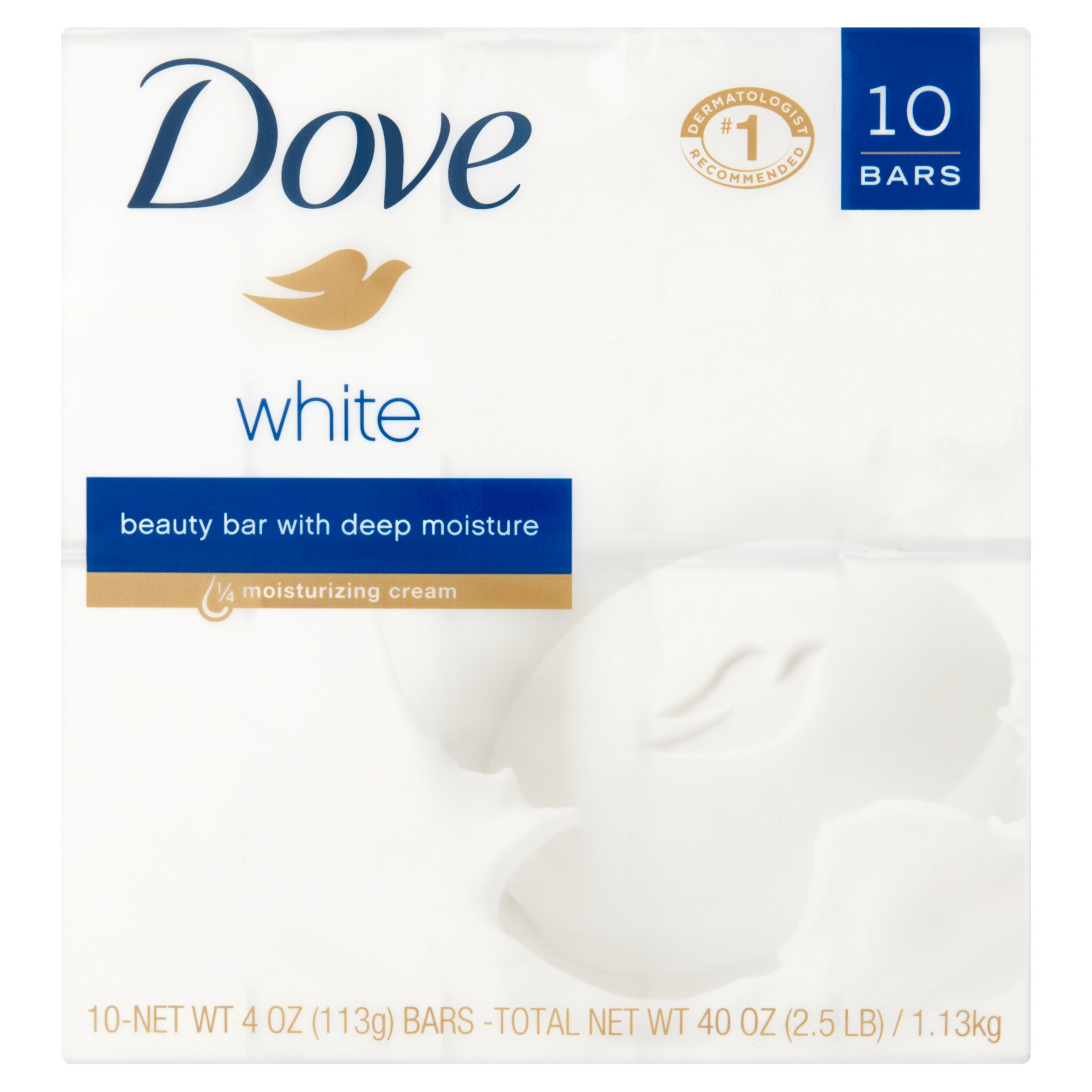 Dove White Beauty Bar with 1/4 Moisturizing Cream, 4 oz, 10 bar
