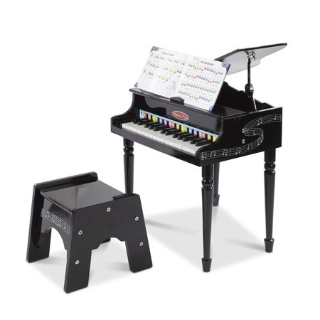"""Melissa & Doug Learn-to-Play Classic Grand Piano (Mini Keyboard with 30 Hand-Tuned Keys, Non-Tipping Bench, High-Quality Materials, 23.65"""" H x 21.4"""" W x 10.05"""""""