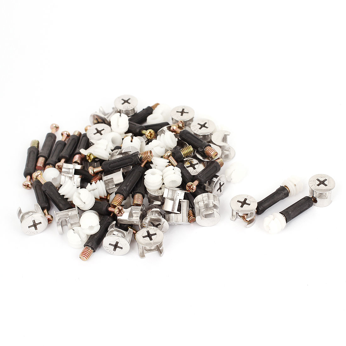 Unique Bargains Furniture Connect 15mm Dia Cam Fittings Pre-inserted Nuts Dowels 30 Sets