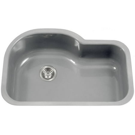 Houzer PCH-3700 SL Porcela Series Porcelain Enamel Steel Undermount Offset Single Bowl Kitchen Sink, Slate
