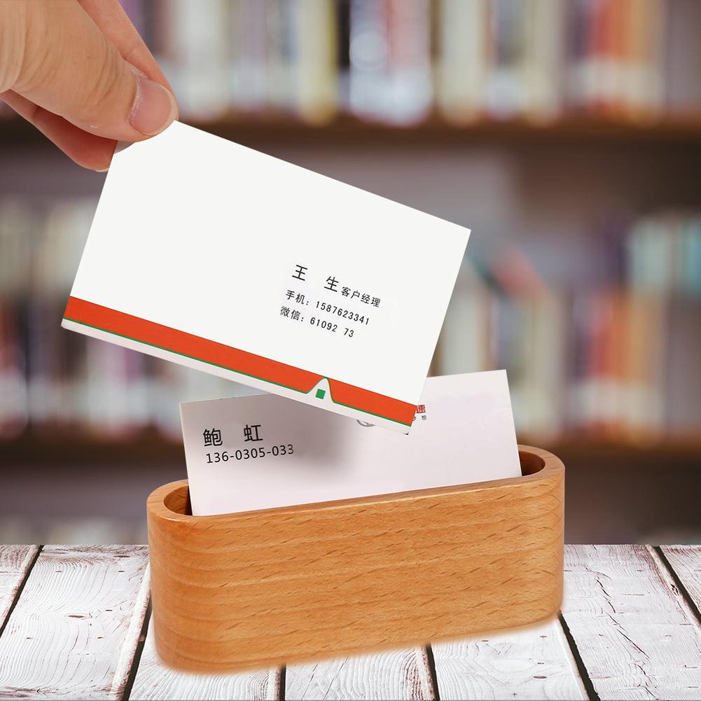 VBESTLIFE Office Business Card Holder,1Pc Creative Wooden Business Card Holder Case Storage Box Organizer Office Desktop Ornaments Business Card Holder