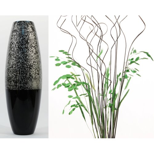 Bloomsbury Market Sonia Swirl Cylinder Floor Vase with Natural Botanicals