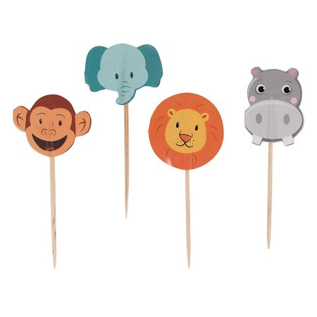 Juvale 200-Pack Jungle Safari Zoo Animal Cupcake Decorations Party Topper Picks, 1 x 3 Inches - image 5 of 7