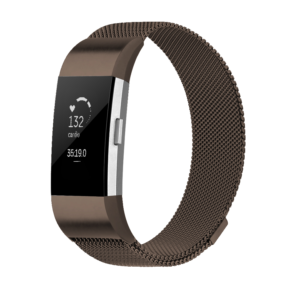 Element Works Wrist Fitbit Charge 2 band : Milanese Loop Stainless Steel Band for Fitbit Charge 2 Watch ( Large ) - Black