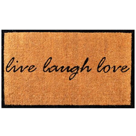 Image of Envelor Home and Garden Handwoven, Extra Thick Doormat, Outdoor Rugs Durable Coir, Outdoor Doormat, Welcome Mat Entryway Door Mat For Patio, Coir Doormat 18 x 30 Inches Live Love Laugh