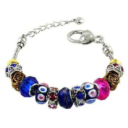 Metal Alloy Antique Golden Rose & Sapphire Colored CZ Bead Charm Bracelet