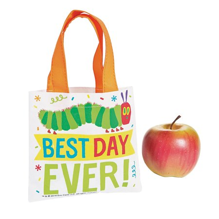 Caterpillar Party Supplies (Fun Express - Very Hungry Caterpillar Tote Bags for Birthday - Apparel Accessories - Totes - Novelty Totes - Birthday - 12)