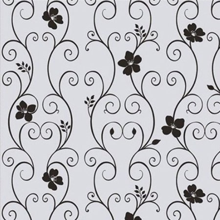 NK Window Glass Sticker Waterproof Frosted Privacy Home Bathroom Removable Decals Self Adhesive Film Wall Sticker Black Wrought Iron Flower (Flower Self Adhesive)