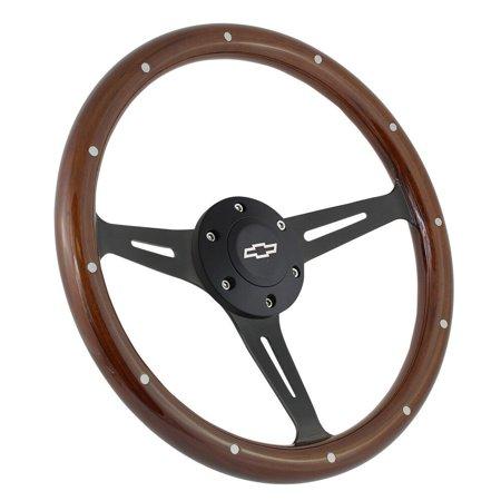 "15"" Matte Black Steering Wheel Riveted Wood Grip (380mm) - 6 Hole Chevy GMC C10"""