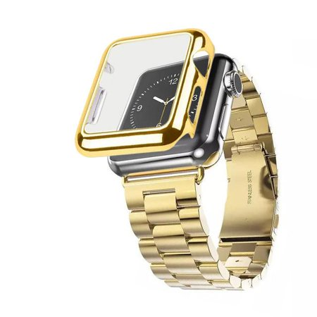 iPM Stainless Steel Watch Band with Plated Slim Case for Apple Watch - 42mm - Gold ()