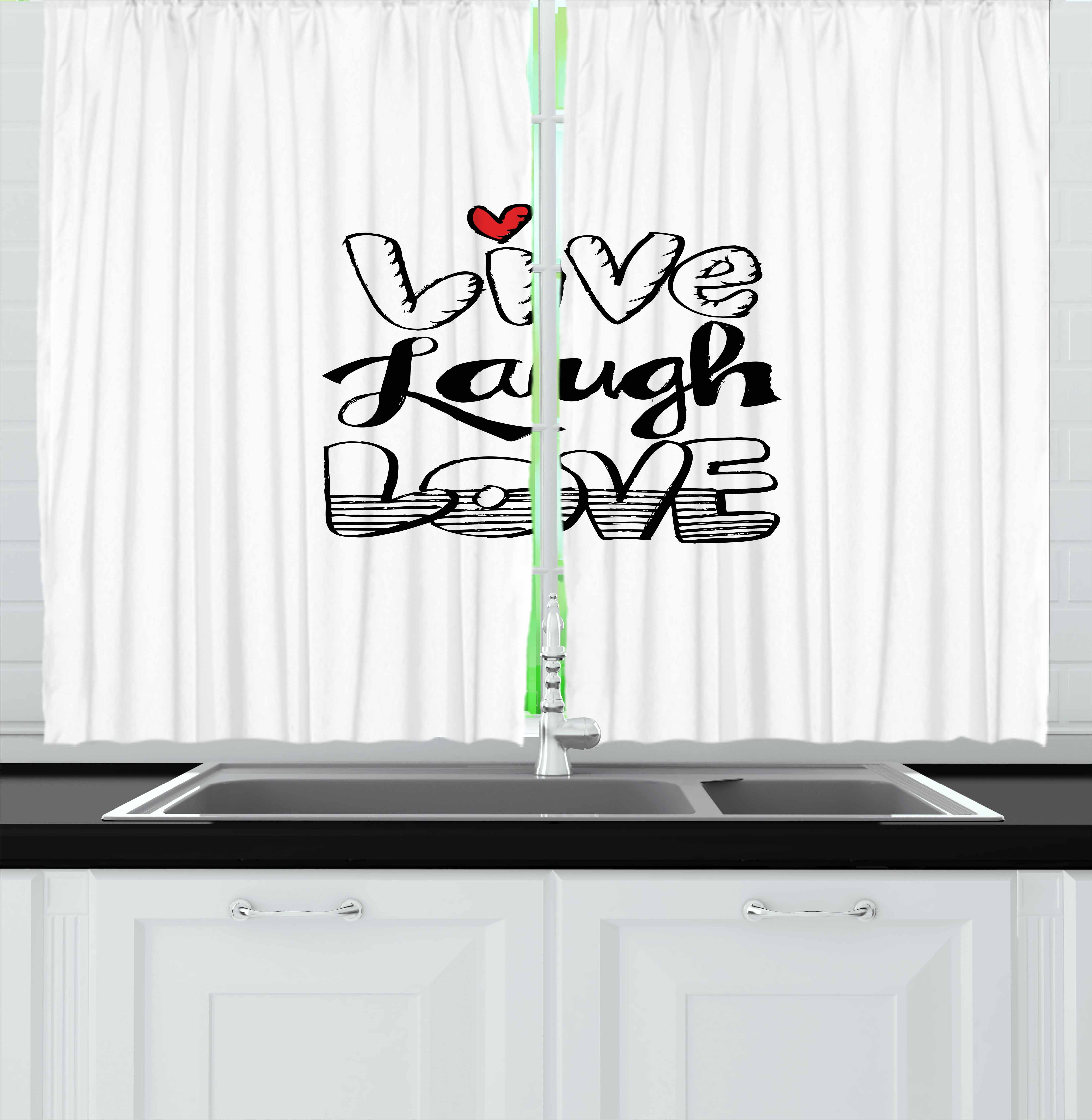 Live Laugh Love Curtains 2 Panels Set, Vintage Hand Drawn Quote with Different Style Graffiti Wall Art Design, Window Drapes for Living Room Bedroom, 55W X 39L Inches, Black White Red, by Ambesonne