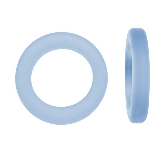 Cultured Sea Glass, Donut Ring Beads 23mm, 2 Pieces, Light Sapphire Blue