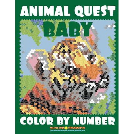 Baby Animal Quest Color by Number : Activity Puzzle Coloring Book for Adults Relaxation & Stress Relief