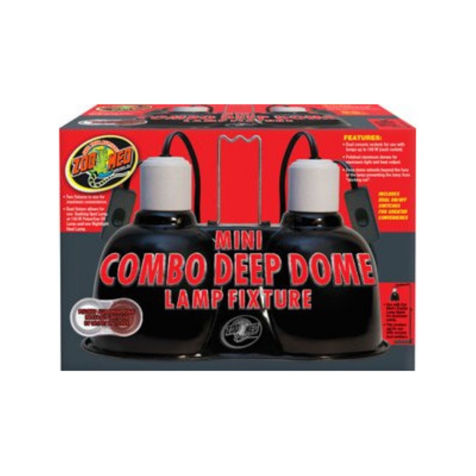 Zoo Med Mini Combo Deep Dome Dual Lamp Fixture, 100 Watt