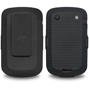 Premium Rubberized Shell Holster Combo Slim Shell Case + Swivel Belt Clip Holster for BlackBerry Bold 9930, BlackBerry Bold 9900 - Black ()