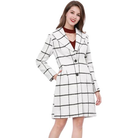 Unique Bargains Women's Plaids Turn Down Collar Long Sleeves Worsted Coat White XL - image 1 de 1