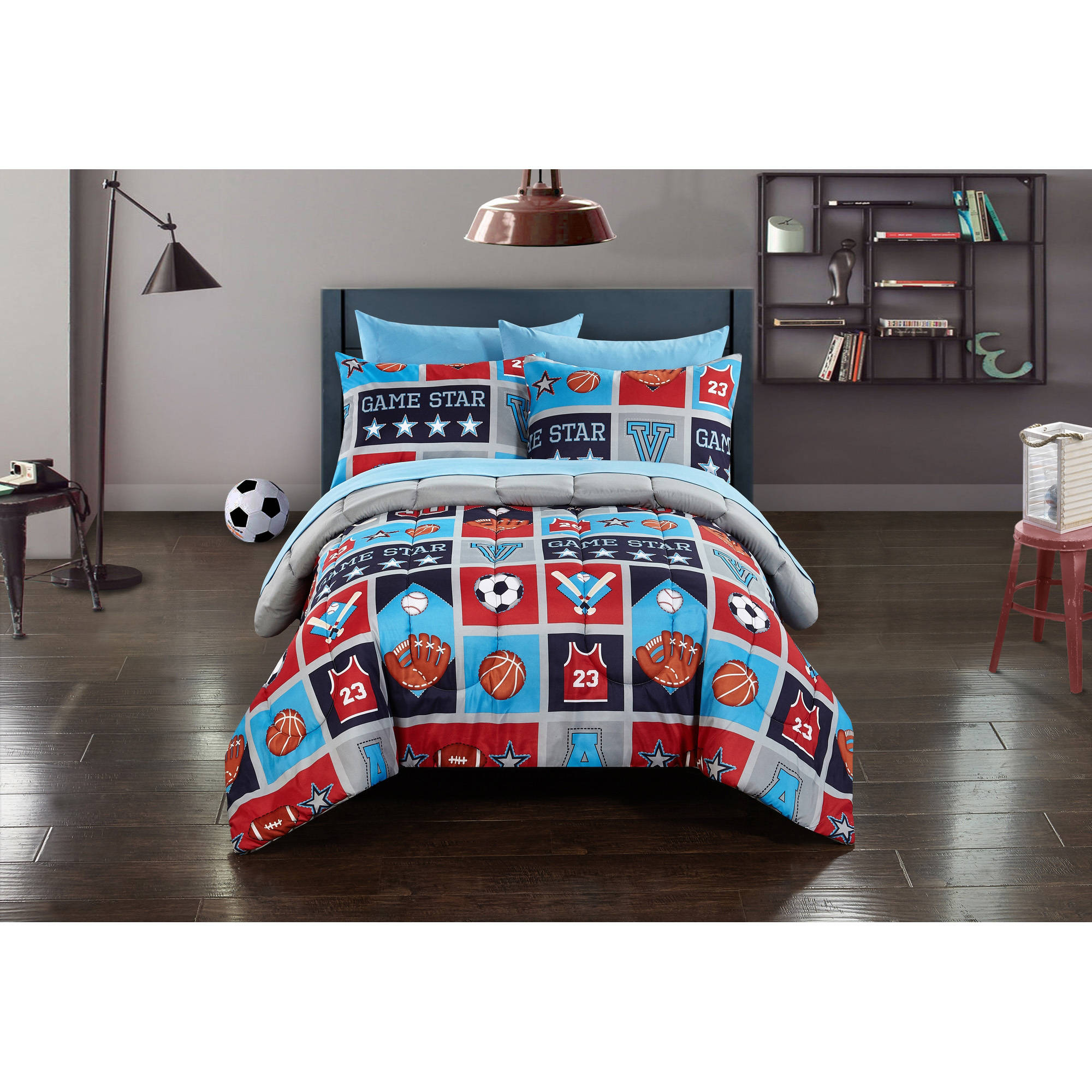 Mainstays Kids Atheletics Bed in a Bag Bedding Set