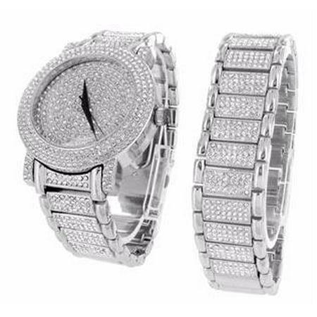 Lab Created Cubic Zirconia Watch Bracelet Set White Gold Tone Iced Out Jojo Jojino Bling Og