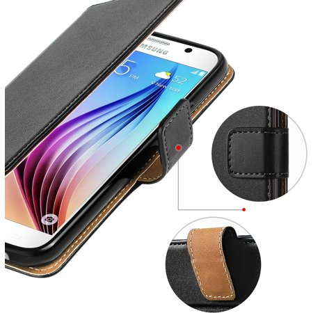 Samsung Galaxy S6 Case, HOOMIL Premium Samsung Galaxy S6 Leather Folio Case, Flip Book Style Wallet Cover with TPU - image 3 de 5
