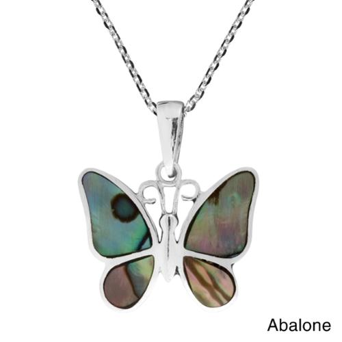 Tropical Soul Butterfly Inlaid Stone .925 Silver Necklace (Thailand) White