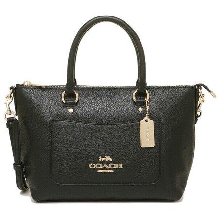 NEW WOMEN'S COACH (F31466) MINI EMMA BLACK PEBBLED LEATHER SATCHEL BAG