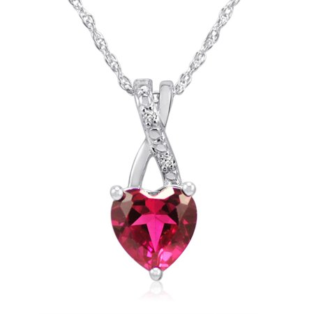 Lab Created Heart Shaped Ruby and Natural Diamond Heart Necklace in Sterling Silver