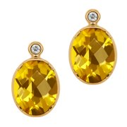3.22 Ct Oval Checkerboard Yellow Citrine White Topaz 14K Yellow Gold Earrings