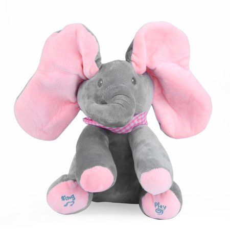 Peek A Boo Animated Talking And Singing Plush Elephant Stuffed Doll Toy For Baby 12 H