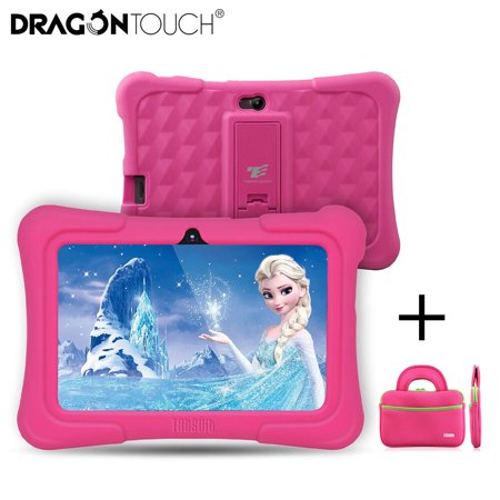 Dragon Touch Newest 7 inch Kids Tablets PC Quad Core 8G ROM Android 6.0 With Children Apps Dual Camera PAD for Children+ Tablet Bag ()