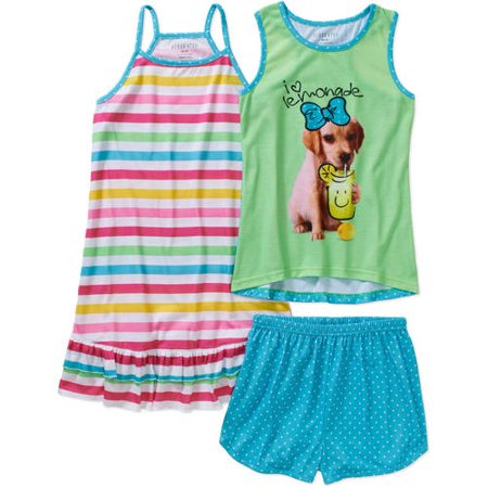 Komar Kids Girls Lemonade 3 Piece Pajama Set](Girls Pijamas)