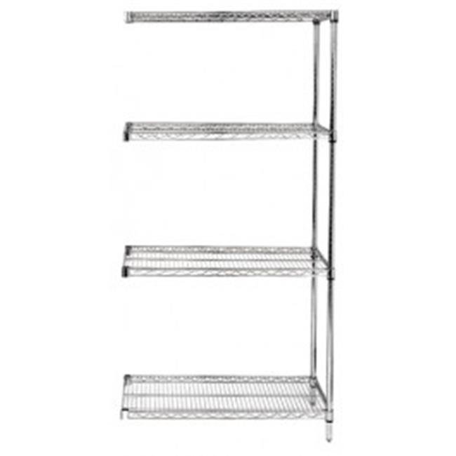 Quantum Storage AD63-1260S 4-Shelf, Stainless Steel Wire Shelving Add-On Unit - 12 x 48 x 63 in. - image 1 of 1
