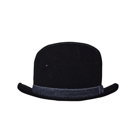 Bowler Hat - Black - Hipster/Trendy - Iron on Applique/Embroidered - Kids Bowler Hat