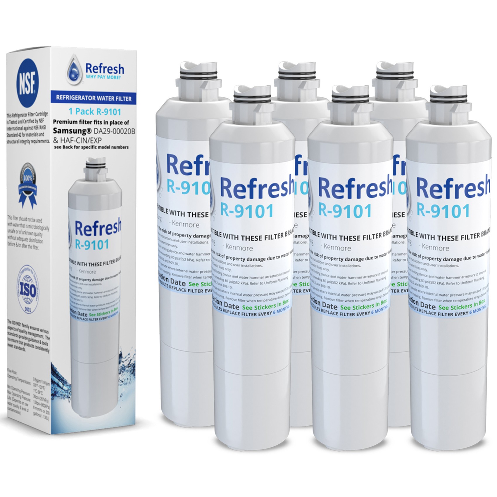 Replacement Water Filter for Samsung DA29-00020B / WF294 / WSS-2 (6 Pack)
