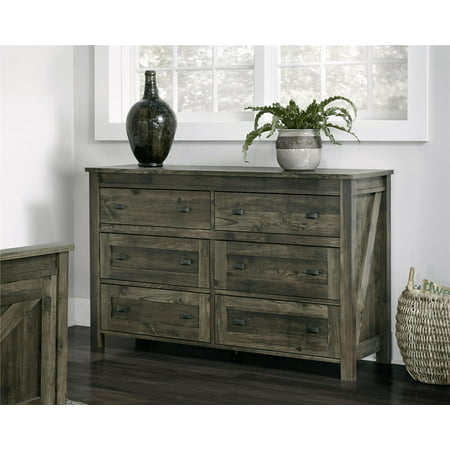 Ameriwood Home Farmington 6 Drawer Dresser, Weathered Oak - Oak Six Drawer Chest