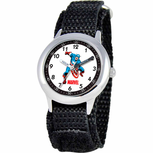 Marvel Captain America Boys' Stainless Steel Watch, Black Strap