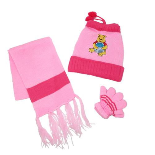 CTM®  Kids Winnie the Pooh Bear Hat Scarf and Gloves on a String Set, Light Pink