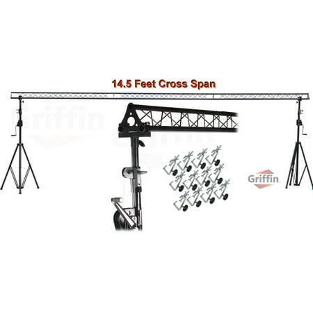 Crank Up Triangle Light Truss System by Griffin|DJ Trussing Stand for Light Cans & Speakers|Pro Audio Stage Lighting Hardware Package|Equipment Mount|Portable Gear Holder for Parties, Music, Live Gigs (Dj Light Stand With Case)