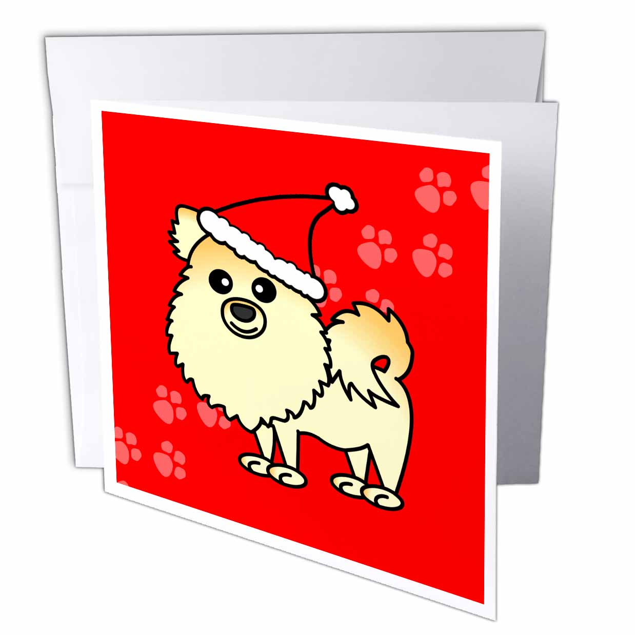 3dRose Cute Cream Pomeranian Red with Santa Hat, Greeting Cards, 6 x 6 inches, set of 6
